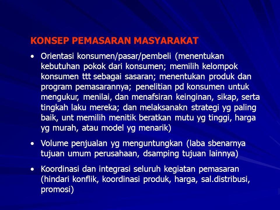 KONSEP PEMASARAN MASYARAKAT •Orientasi konsumen/pasar/pembeli (menentukan kebutuhan pokok dari konsumen; memilih kelompok konsumen ttt sebagai sasaran