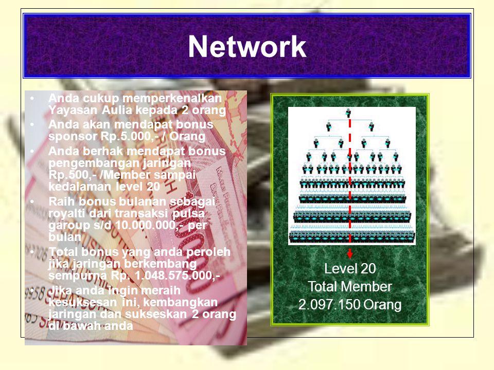 Network •Anda cukup memperkenalkan Yayasan Aulia kepada 2 orang •Anda akan mendapat bonus sponsor Rp.5.000,- / Orang •Anda berhak mendapat bonus pengembangan jaringan Rp.500,- /Member sampai kedalaman level 20 •Raih bonus bulanan sebagai royalti dari transaksi pulsa garoup s/d 10.000.000,- per bulan •Total bonus yang anda peroleh jika jaringan berkembang sempurna Rp.