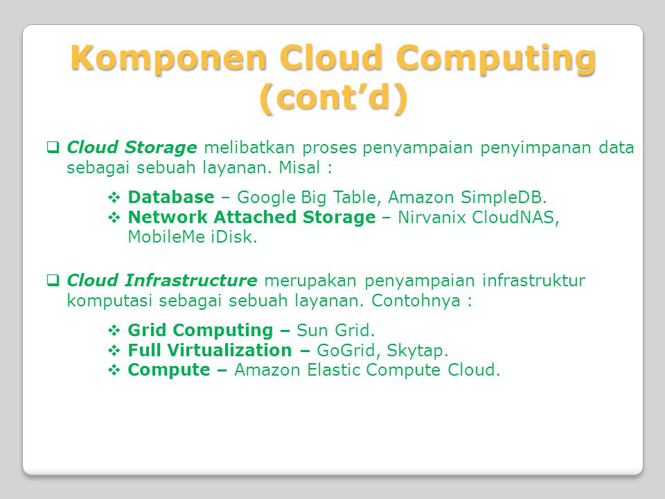  Cloud Storage melibatkan proses penyampaian penyimpanan data sebagai sebuah layanan. Misal :  Database – Google Big Table, Amazon SimpleDB.  Netwo