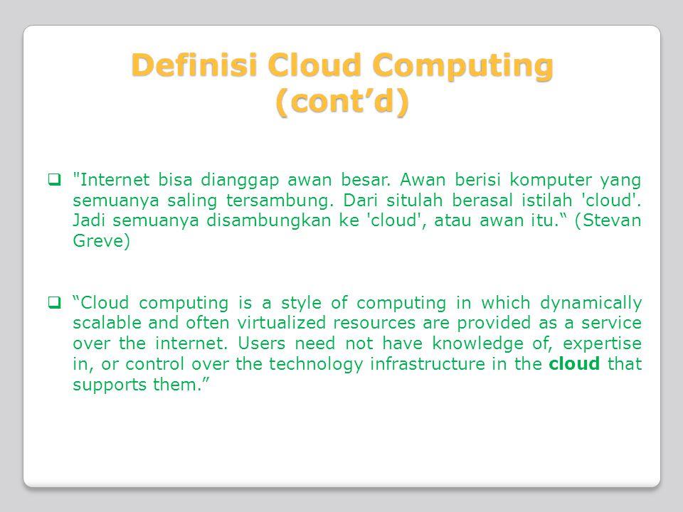  Internet bisa dianggap awan besar. Awan berisi komputer yang semuanya saling tersambung.