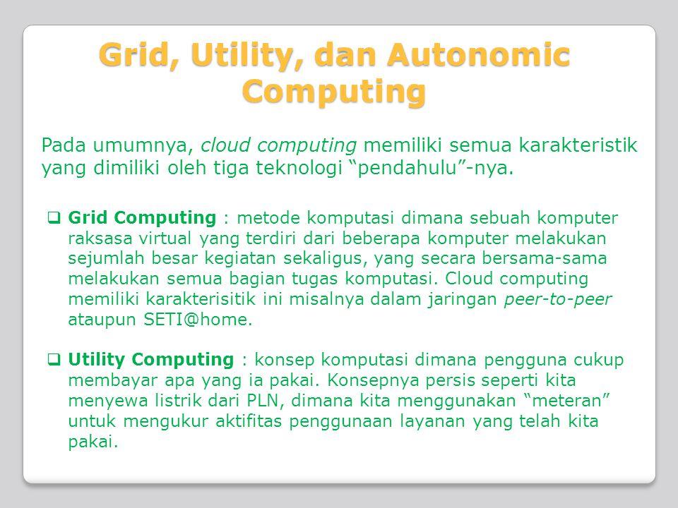 """Pada umumnya, cloud computing memiliki semua karakteristik yang dimiliki oleh tiga teknologi """"pendahulu""""-nya.  Grid Computing : metode komputasi dima"""
