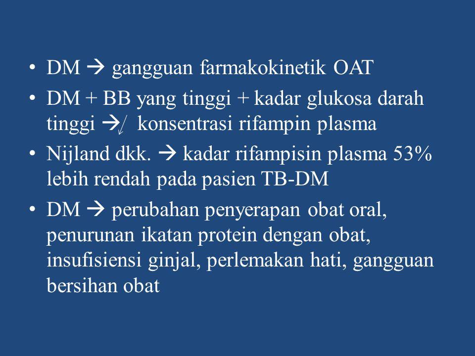 Prinsip pengobatan TB-DM 1.Pengobatan tepat 2.DM dg kontrol glikemik buruk  dirawat 3.Insulin  kontrol gula darah 4.OHO  DM ringan 5.Keseimbangan glikemik  keberhasilan terapi OAT (target GDP <120 mg% dan HbA1c <7%) 6.Monitoring ESO 7.Durasi OAT  kontrol diabetes dan respon pasien 8.Penanganan komorbid, dan malnutrisi