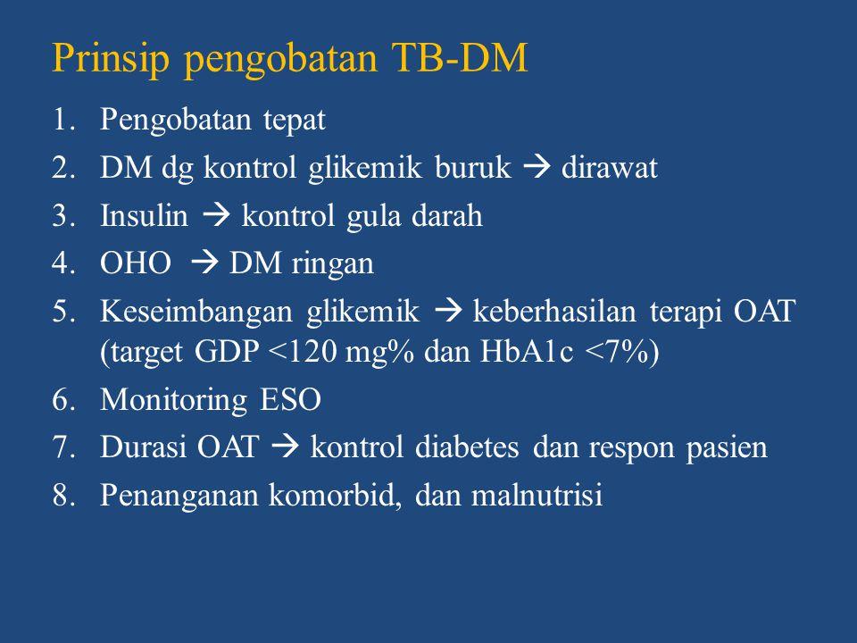 Rasionalisasi pemberian insulin pada TB- DM 1.Infeksi TB berat 2.Hilangnya jaringan dan fungsi pankreas pada TB pankreas 3.Kebutuhan diet kalori dan protein yang tinggi serta kebutuhan efek anabolik 4.Terdapat interaksi antara OHO dengan OAT 5.Terdapat penyakit hepar yang meyertai  menghambat penggunaan OHO