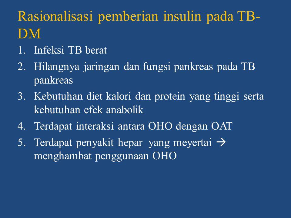 Penapisan Penapisan DM pada pasien TB • Penapisan DM  menyinkirkan kemungkinan terjadinya komorbid DM • Anamnesis + fingerstick glucometer assay  metode penapisan sederhana dan ekonomis Penapisan TB pada DM • Pemeriksaan medis teratur + foto toraks dua tahun sekali • Usia > 40 tahun atau BB < 10% BB ideal  pemeriksaan lebih ketat