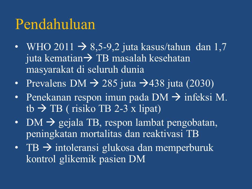 HUBUNGAN TB DAN DM Risiko tuberkulosis pada diabetes mellitus • Root, 1934  kejadian TB pada orang dewasa dengan DM banyak ditemukan terutama dengan kontrol glikemik yang buruk • Philadelphia, 1952  8,4% TB paru pada DM dibandingkan dengan 4,3% TB non DM, TB pada DM lebih dari 10 tahun (17%)  < 10 tahun (5%) • Korea  RR TB pada DM 3,47 dibandingkan non DM  HbA1c > 7%
