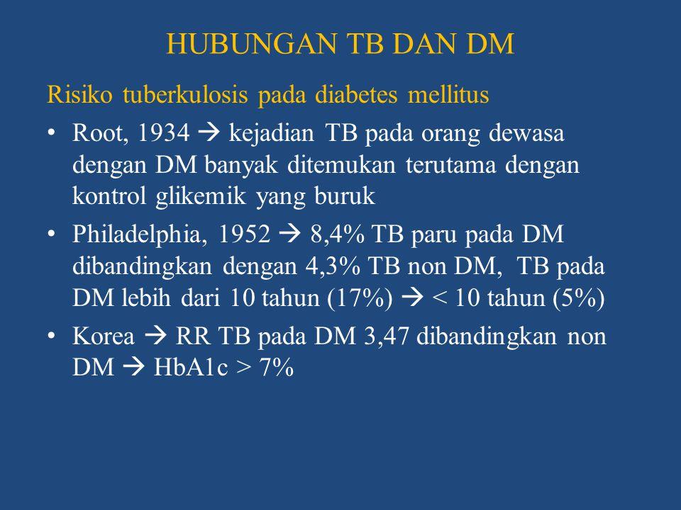 HUBUNGAN TB DAN DM Gangguan fungsi imun pada diabetes mellitus • DM  penurunan sistem imun seluler  penurunan limfosit T dan netrofil + penurunan produksi TNF α, IL-1β serta IL-6 • Gangguan fungsi makrofag  ROS, kemotaksis dan fagositik menurun • Infeksi oleh basil tuberkel  gangguan pada sitokin, makrofag-monosit dan populasi sel T CD4/CD8 • Glikosilasi non enzimatik  gangguan fungsi mukosilier dan neuropati otonom  abnormalitas tonus basal jalan napas  reaktifitas bronkus dan bronkodilatasi