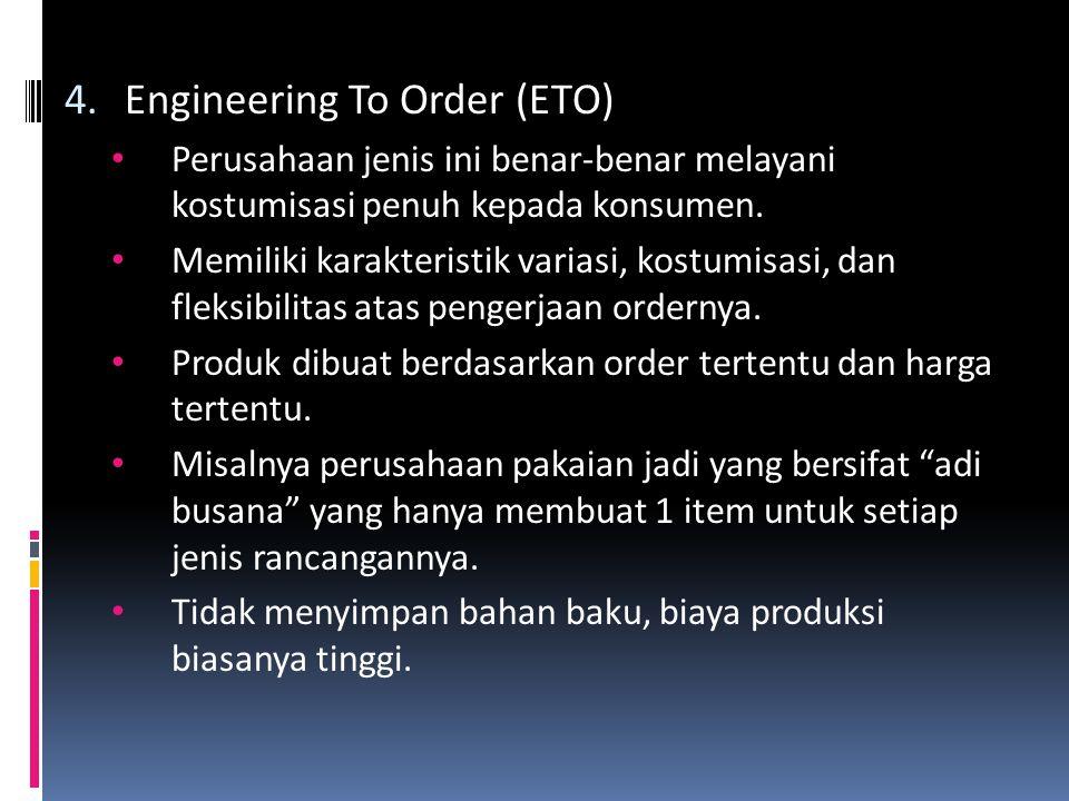 4.Engineering To Order (ETO) • Perusahaan jenis ini benar-benar melayani kostumisasi penuh kepada konsumen.