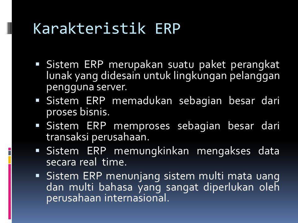 Karakteristik ERP  Sistem ERP merupakan suatu paket perangkat lunak yang didesain untuk lingkungan pelanggan pengguna server.