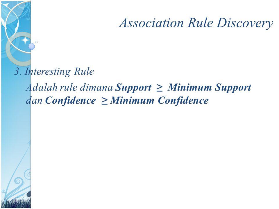 Association Rule Discovery 3. Interesting Rule Adalah rule dimana Support ≥ Minimum Support dan Confidence ≥ Minimum Confidence