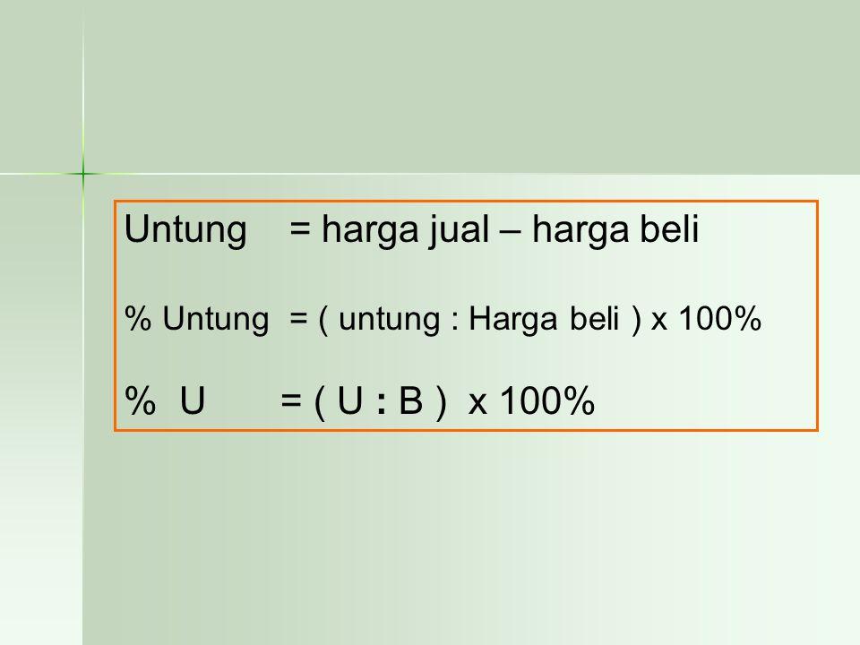 Pembahasan BBBBesar untung = Jual – Beli ==== Rp 1.950.000 – Rp 1.500.000 ==== Rp 450.000,- %%%% untung = untung/harga beli x 100%  = Rp 450.000/Rp 1.500.000 x 100% 30 % JJJJadi, jawaban yang benar adalah B