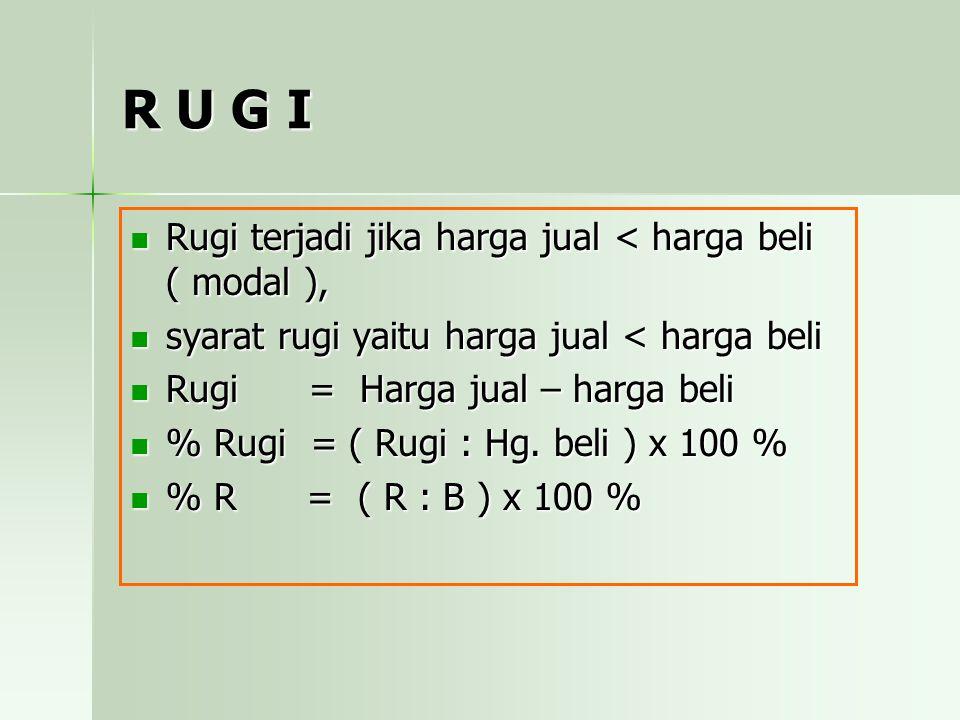 Latihan - 9 Seorang pedagang menjual 5 kuintal beras dengan harga Rp 3.300,-/kg.