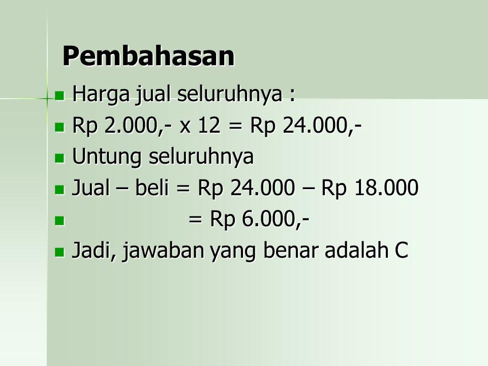 Pembahasan Menggunakan harga per unit Harga beli = Rp 900.000 : 20 = Rp 45.000,- per unit Harga jual = Rp 648.000 : 12 = Rp 54.000,- per unit
