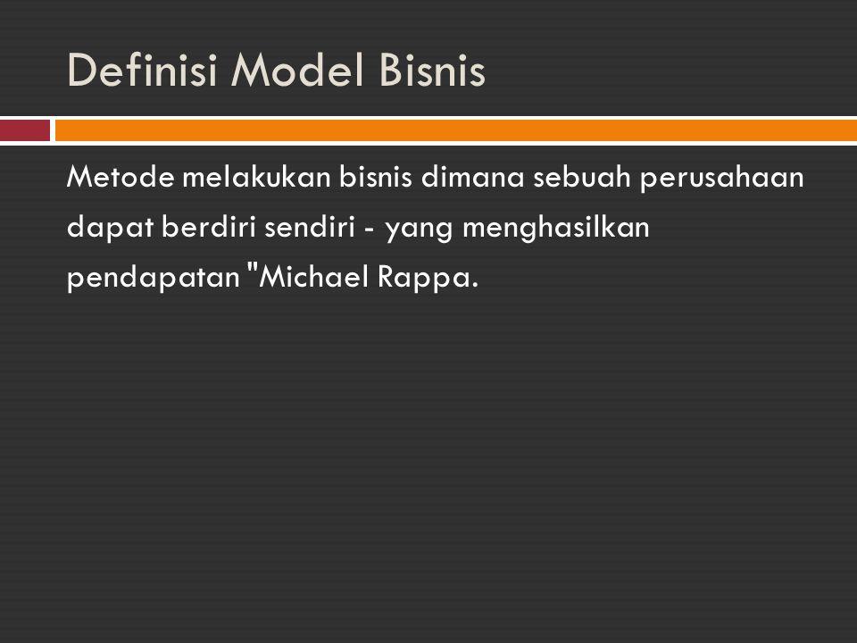 Definisi Model Bisnis Metode melakukan bisnis dimana sebuah perusahaan dapat berdiri sendiri - yang menghasilkan pendapatan