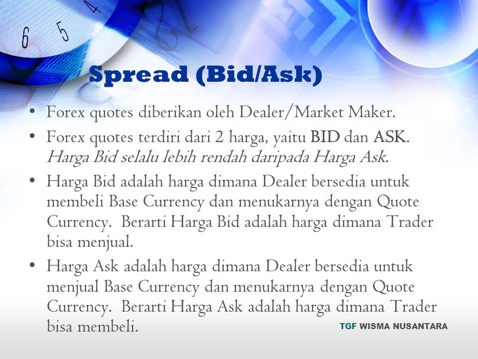 •Forex quotes diberikan oleh Dealer/Market Maker. •Forex quotes terdiri dari 2 harga, yaitu BID dan ASK. Harga Bid selalu lebih rendah daripada Harga