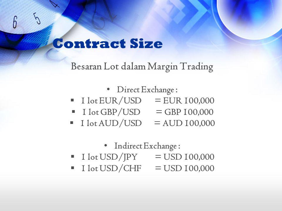 Besaran Lot dalam Margin Trading •Direct Exchange :  1 lot EUR/USD= EUR 100,000  1 lot GBP/USD= GBP 100,000  1 lot AUD/USD= AUD 100,000 •Indirect E
