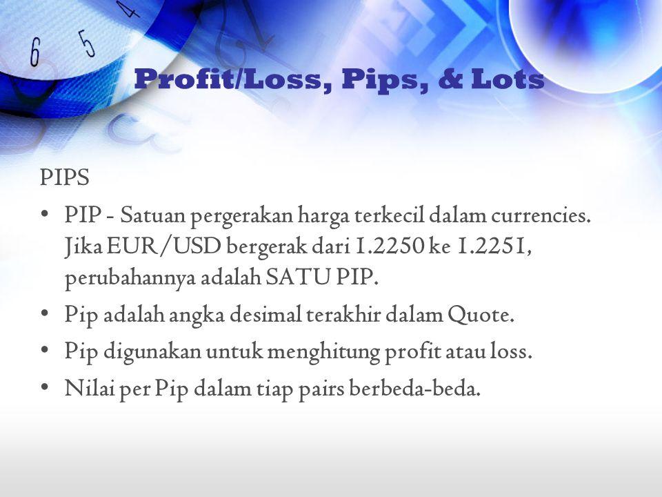 Profit/Loss, Pips, & Lots PIPS •PIP - Satuan pergerakan harga terkecil dalam currencies. Jika EUR/USD bergerak dari 1.2250 ke 1.2251, perubahannya ada