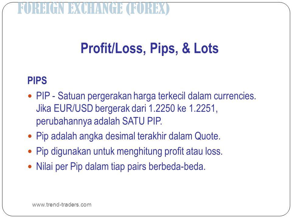 FOREIGN EXCHANGE (FOREX) www.trend-traders.com Profit/Loss, Pips, & Lots PIPS  PIP - Satuan pergerakan harga terkecil dalam currencies. Jika EUR/USD