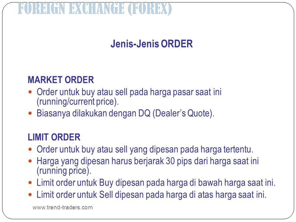 FOREIGN EXCHANGE (FOREX) www.trend-traders.com Jenis-Jenis ORDER MARKET ORDER  Order untuk buy atau sell pada harga pasar saat ini (running/current p