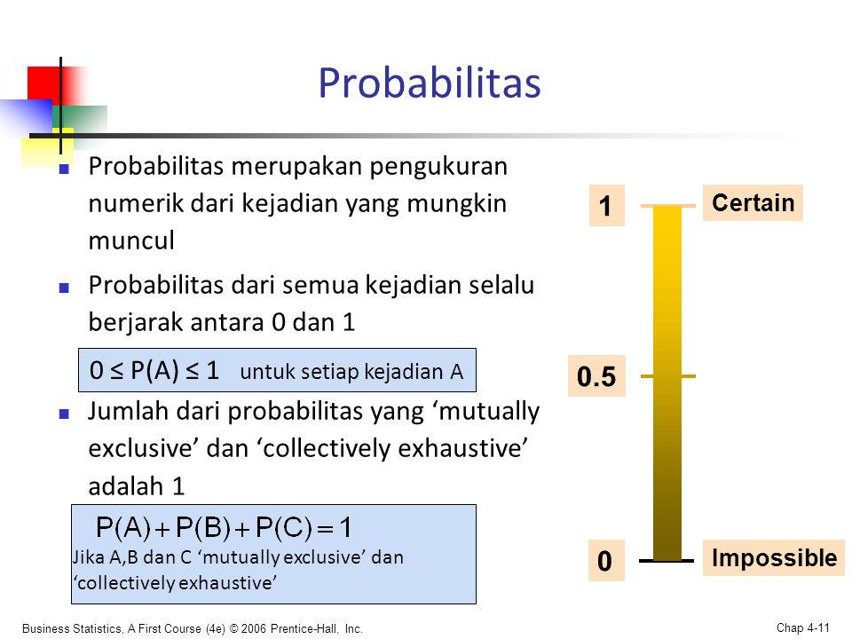 Business Statistics, A First Course (4e) © 2006 Prentice-Hall, Inc. Chap 4-11 Probabilitas  Probabilitas merupakan pengukuran numerik dari kejadian y