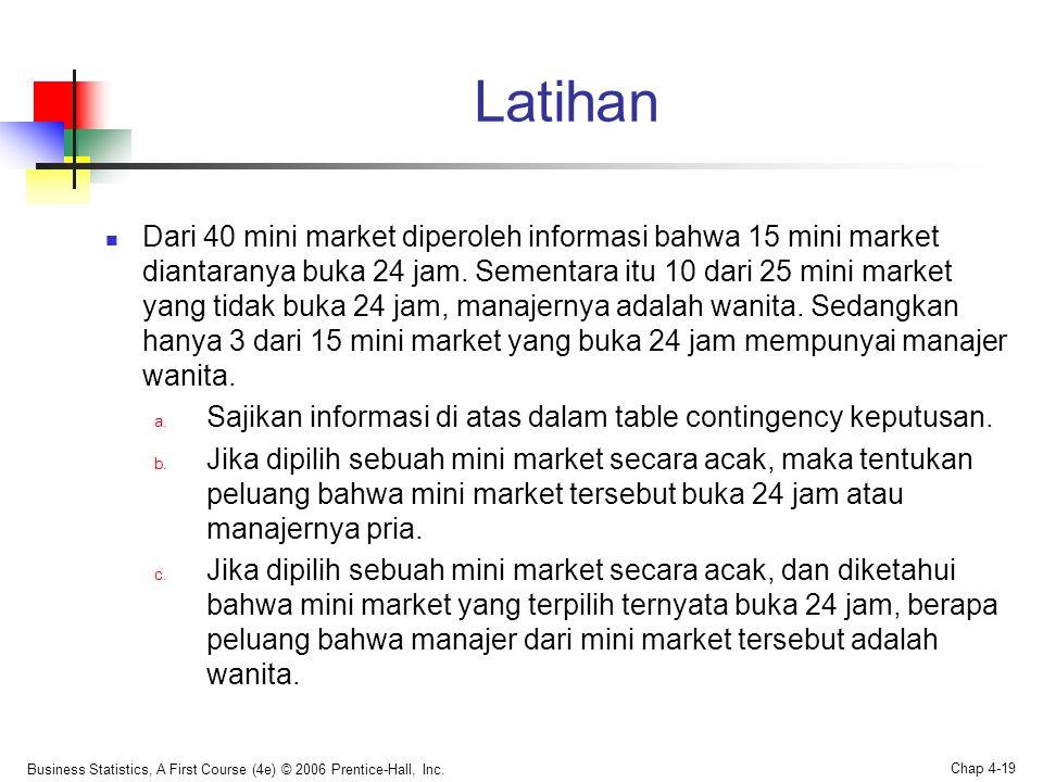 Latihan  Dari 40 mini market diperoleh informasi bahwa 15 mini market diantaranya buka 24 jam. Sementara itu 10 dari 25 mini market yang tidak buka 2