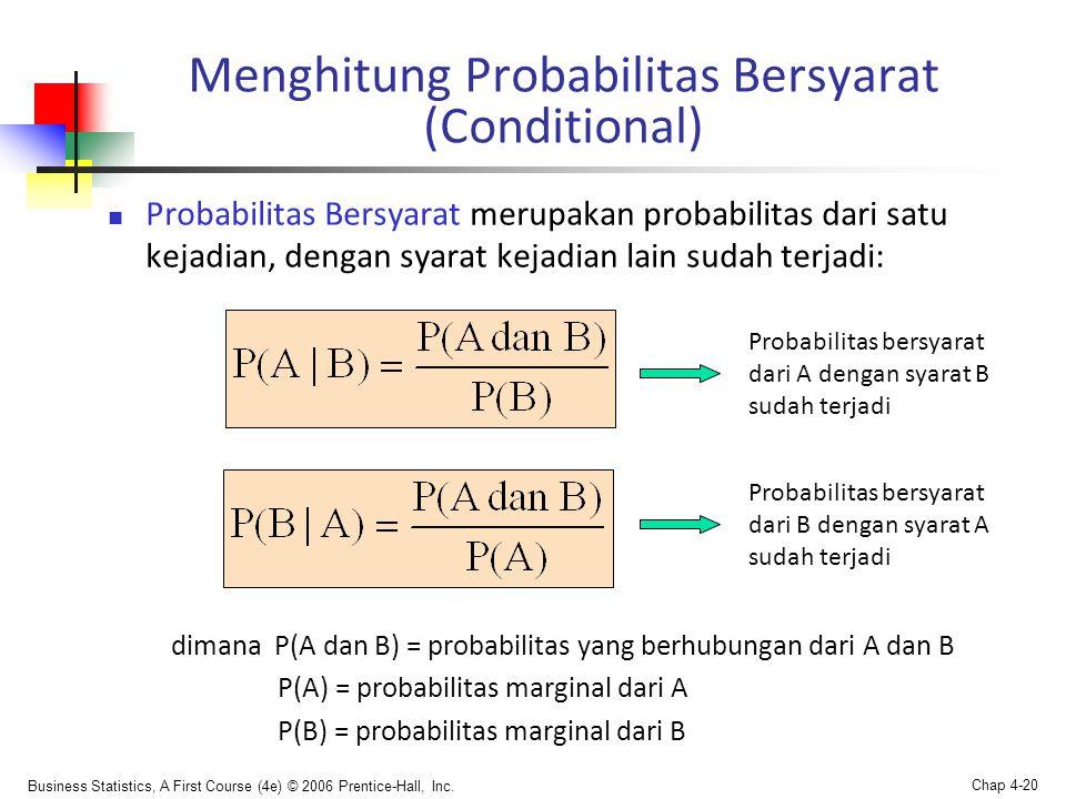 Business Statistics, A First Course (4e) © 2006 Prentice-Hall, Inc. Chap 4-20 Menghitung Probabilitas Bersyarat (Conditional)  Probabilitas Bersyarat