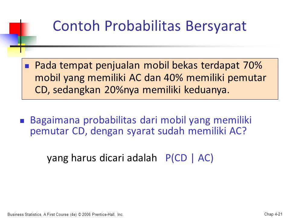 Business Statistics, A First Course (4e) © 2006 Prentice-Hall, Inc. Chap 4-21  Bagaimana probabilitas dari mobil yang memiliki pemutar CD, dengan sya