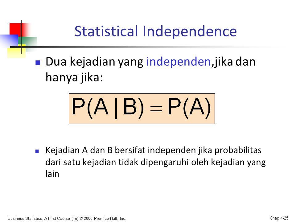 Business Statistics, A First Course (4e) © 2006 Prentice-Hall, Inc. Chap 4-25 Statistical Independence  Dua kejadian yang independen,jika dan hanya j