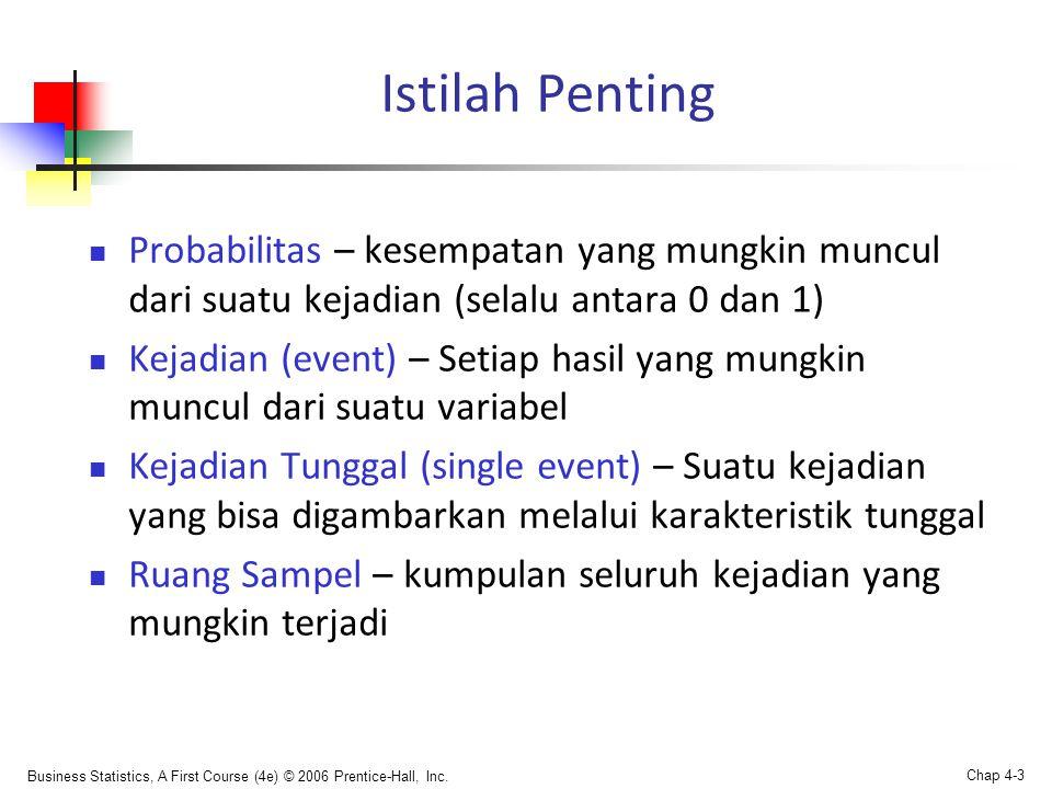 Business Statistics, A First Course (4e) © 2006 Prentice-Hall, Inc. Chap 4-3 Istilah Penting  Probabilitas – kesempatan yang mungkin muncul dari suat