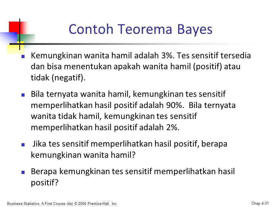 Business Statistics, A First Course (4e) © 2006 Prentice-Hall, Inc. Chap 4-31 Contoh Teorema Bayes  Kemungkinan wanita hamil adalah 3%. Tes sensitif