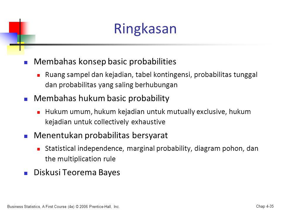 Business Statistics, A First Course (4e) © 2006 Prentice-Hall, Inc. Chap 4-35 Ringkasan  Membahas konsep basic probabilities  Ruang sampel dan kejad