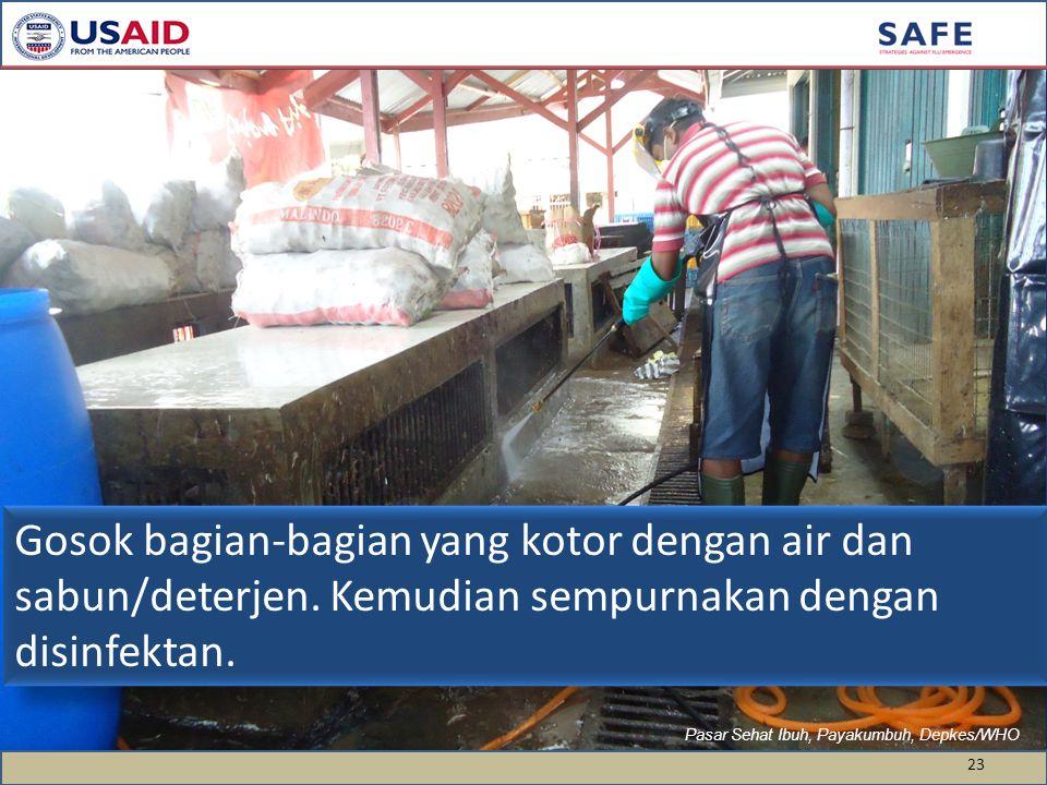 23 Pasar Sehat Ibuh, Payakumbuh, Depkes/WHO Gosok bagian-bagian yang kotor dengan air dan sabun/deterjen. Kemudian sempurnakan dengan disinfektan.