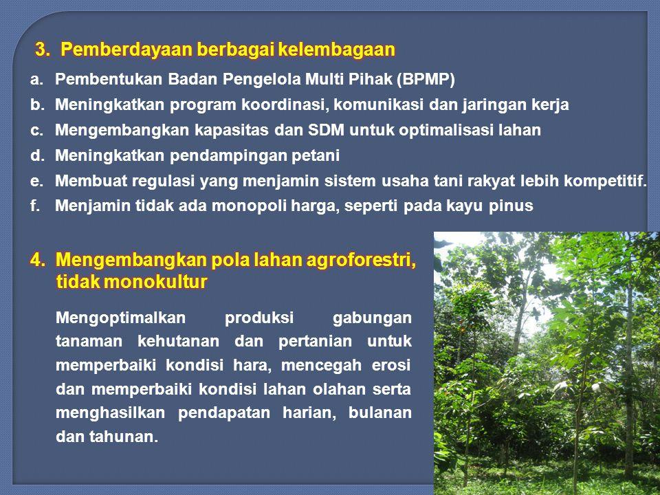 a.Pembentukan Badan Pengelola Multi Pihak (BPMP) b.Meningkatkan program koordinasi, komunikasi dan jaringan kerja c.Mengembangkan kapasitas dan SDM untuk optimalisasi lahan d.Meningkatkan pendampingan petani e.Membuat regulasi yang menjamin sistem usaha tani rakyat lebih kompetitif.