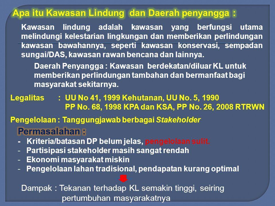 Legalitas : UU No 41, 1999 Kehutanan, UU No.5, 1990 PP No.