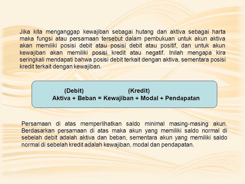 (Debit) (Kredit) Aktiva + Beban = Kewajiban + Modal + Pendapatan Jika kita menganggap kewajiban sebagai hutang dan aktiva sebagai harta maka fungsi atau persamaan tersebut dalam pembukuan untuk akun aktiva akan memiliki posisi debit atau posisi debit atau positif, dan untuk akun kewajiban akan memiliki posisi kredit atau negatif.
