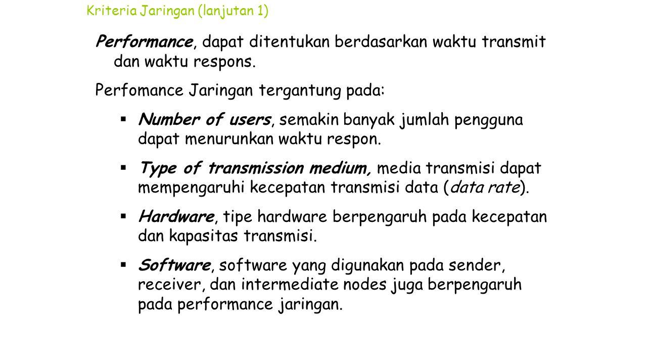 Kriteria Jaringan (lanjutan 1) Performance, dapat ditentukan berdasarkan waktu transmit dan waktu respons. Perfomance Jaringan tergantung pada:  Numb