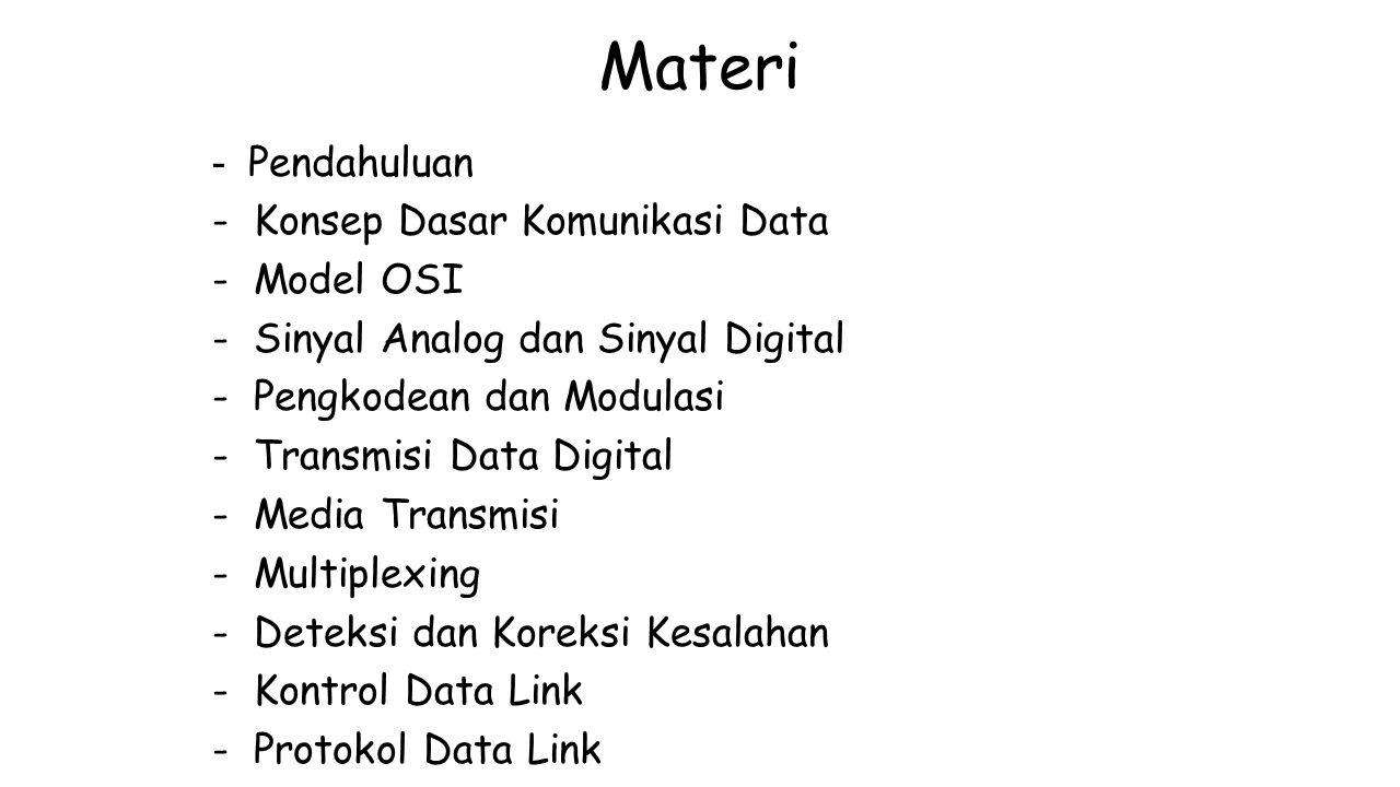 Materi - Pendahuluan - Konsep Dasar Komunikasi Data - Model OSI - Sinyal Analog dan Sinyal Digital - Pengkodean dan Modulasi - Transmisi Data Digital