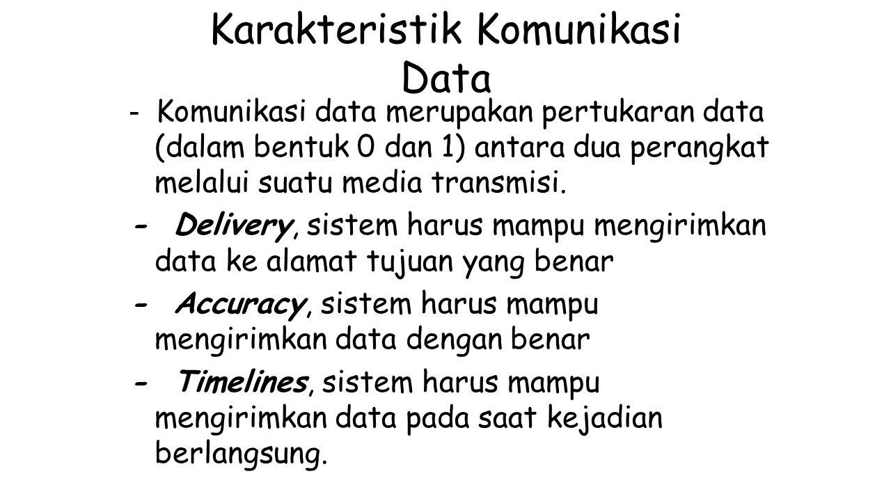 Karakteristik Komunikasi Data - Komunikasi data merupakan pertukaran data (dalam bentuk 0 dan 1) antara dua perangkat melalui suatu media transmisi. -