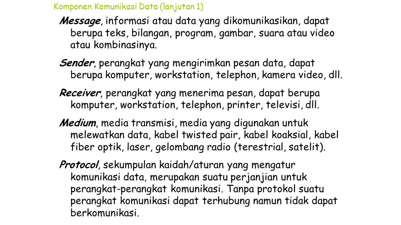 Komponen Komunikasi Data (lanjutan 1) Message, informasi atau data yang dikomunikasikan, dapat berupa teks, bilangan, program, gambar, suara atau vide
