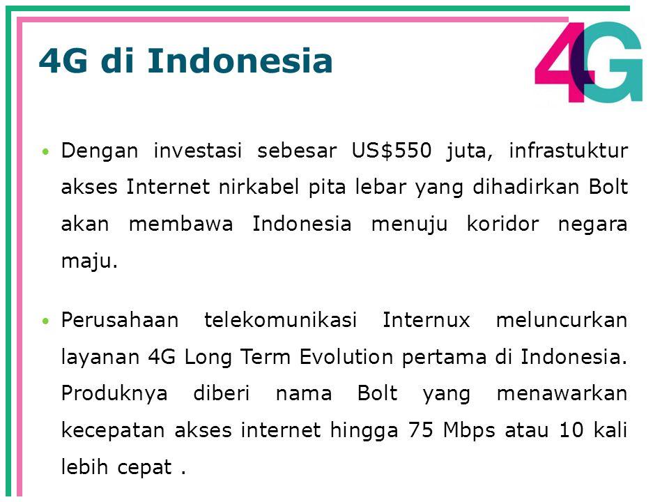 4G di Indonesia  Dengan investasi sebesar US$550 juta, infrastuktur akses Internet nirkabel pita lebar yang dihadirkan Bolt akan membawa Indonesia menuju koridor negara maju.