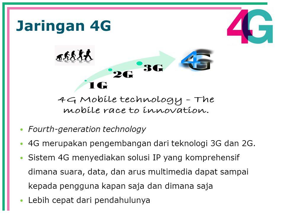 Jaringan 4G  Fourth-generation technology  4G merupakan pengembangan dari teknologi 3G dan 2G.
