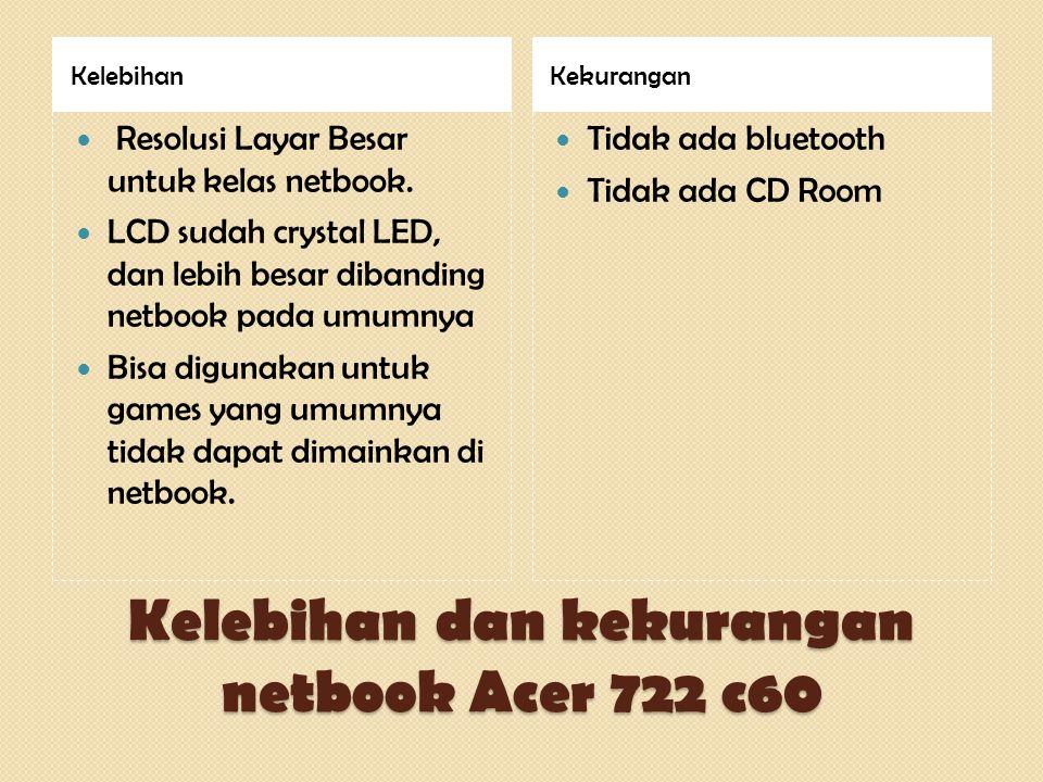 Kelebihan dan kekurangan netbook Acer 722 c60 KelebihanKekurangan  Resolusi Layar Besar untuk kelas netbook.