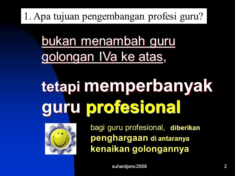suhardjono 20082 bukan menambah guru golongan IVa ke atas, tetapi memperbanyak guru profesional bagi guru profesional, diberikan penghargaan di antara