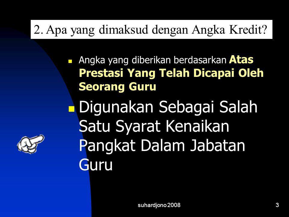 suhardjono 20083  Angka yang diberikan berdasarkan Atas Prestasi Yang Telah Dicapai Oleh Seorang Guru  Digunakan Sebagai Salah Satu Syarat Kenaikan