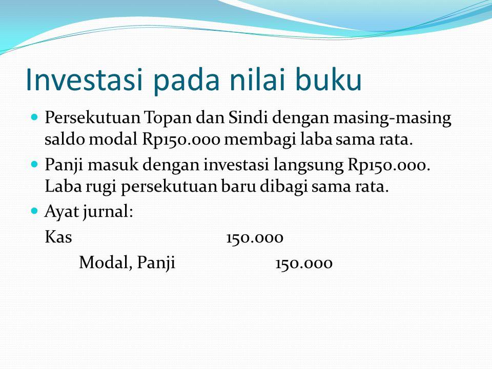 Investasi pada nilai buku  Persekutuan Topan dan Sindi dengan masing-masing saldo modal Rp150.000 membagi laba sama rata.