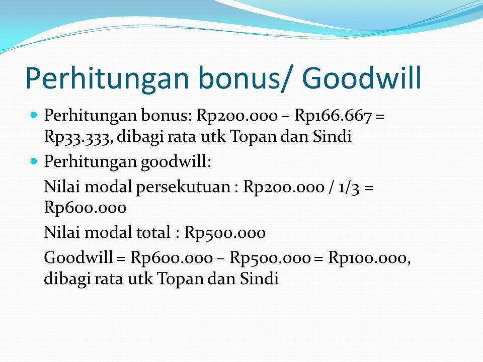 Perhitungan bonus/ Goodwill  Perhitungan bonus: Rp200.000 – Rp166.667 = Rp33.333, dibagi rata utk Topan dan Sindi  Perhitungan goodwill: Nilai modal persekutuan : Rp200.000 / 1/3 = Rp600.000 Nilai modal total : Rp500.000 Goodwill = Rp600.000 – Rp500.000 = Rp100.000, dibagi rata utk Topan dan Sindi