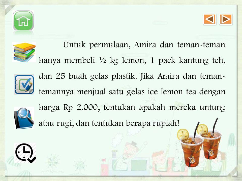 Untuk permulaan, Amira dan teman-teman hanya membeli ½ kg lemon, 1 pack kantung teh, dan 25 buah gelas plastik.