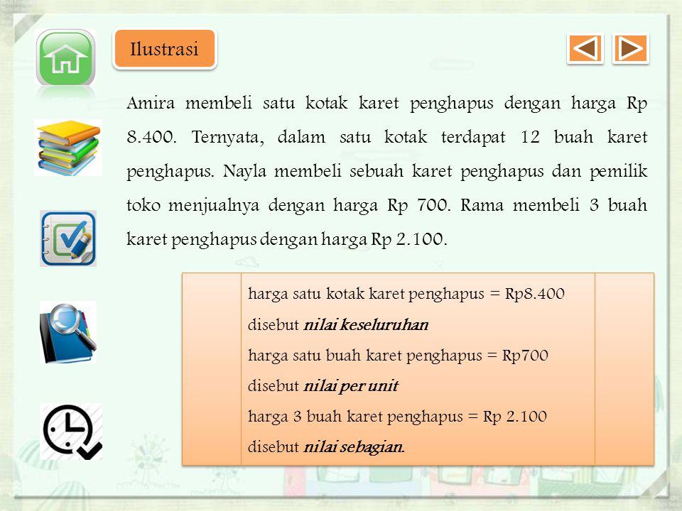 Contoh : Untuk membantu pencarian dana PENSI, Amira menjual novel Harry Potter dengan harga Rp 90.000.