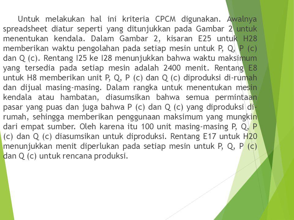 Untuk melakukan hal ini kriteria CPCM digunakan.