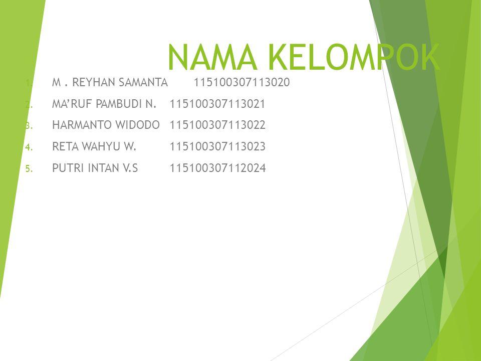 NAMA KELOMPOK 1.M. REYHAN SAMANTA 115100307113020 2.