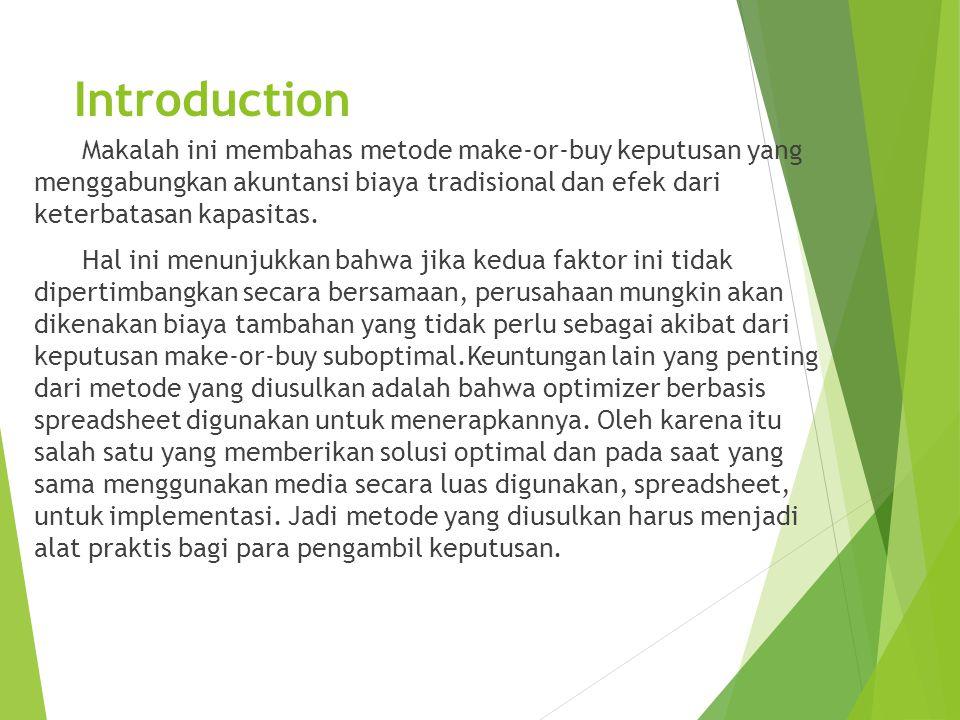 Introduction Makalah ini membahas metode make-or-buy keputusan yang menggabungkan akuntansi biaya tradisional dan efek dari keterbatasan kapasitas.